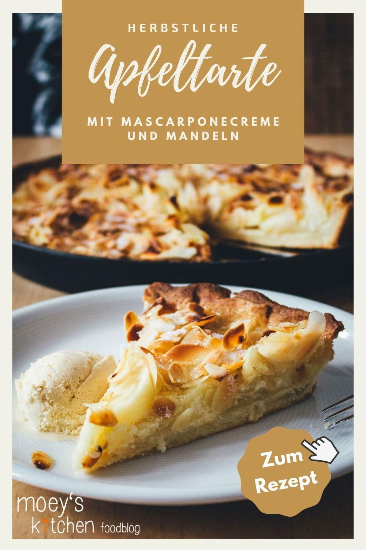 Rezept für Apfeltarte mit Mascarponecreme und Mandeln | der perfekte Apfelkuchen für den Herbst | moeyskitchen.com #rezepte #foodblogger #apfelkuchen #apfeltarte #tarte #kuchen #herbst #backen #backrezept