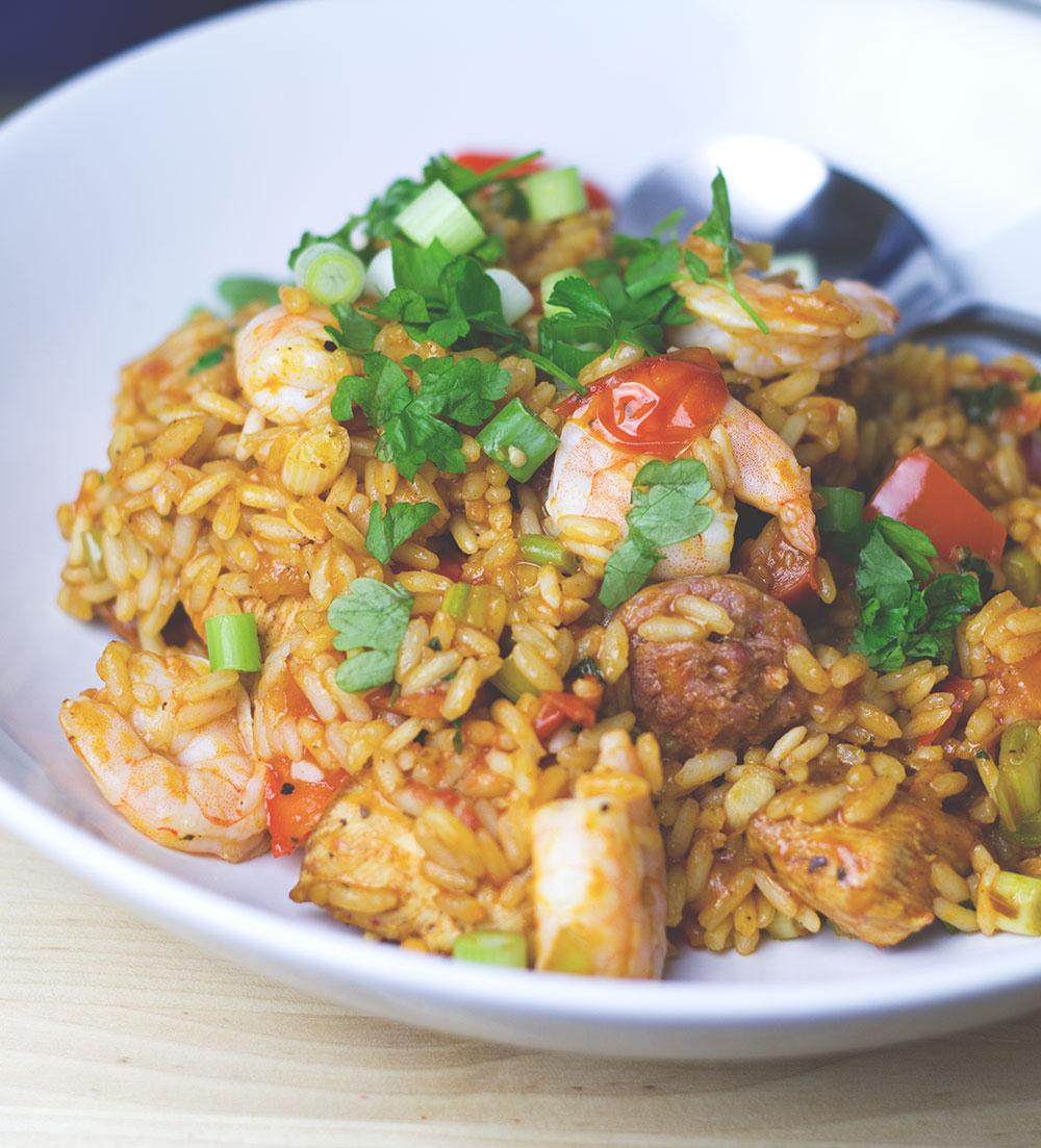 Rezept für leckeres One Pot Jambalaya von moeyskitchen.com