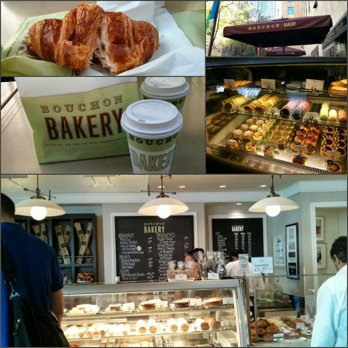 Bouchon Bakery von Thomas Keller, Croissant, Café, Rockefeller Plaza, Rockefeller Center, Kaffee, Manhattan, New York, USA