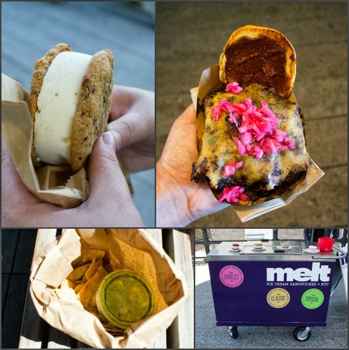 The Highline, Ice Cream Sandwich, Brisket Sandwich, Nachos mit Guacamole, Melt, Manhattan, New York, USA