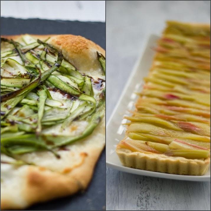 Collage aus weißer Pizza und Rhabarber-Tarte