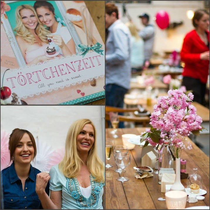 Buchparty von Törtchenzeit mit Kochbuch, Jessi Hesseler und Sonya Kraus und Tisch im Exquisit