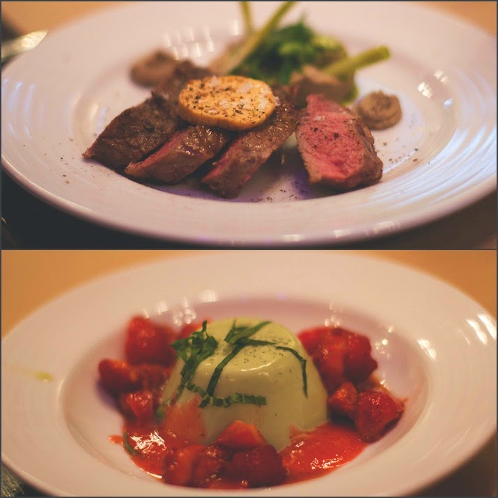 Super Club Stadt Land Food Menü: oben: Rumpsteak sous-vide mit geeistem Kichererbsenpüree und grünem Gemüse, unten: Basilikum Panna Cotta mit Pfeffer-Erdbeeren und Balsamico