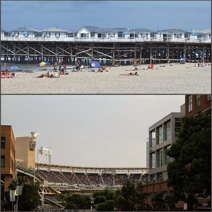 San Diego Collage oben: Strand, unten: PetCo-Stadion mitten in der Stadt