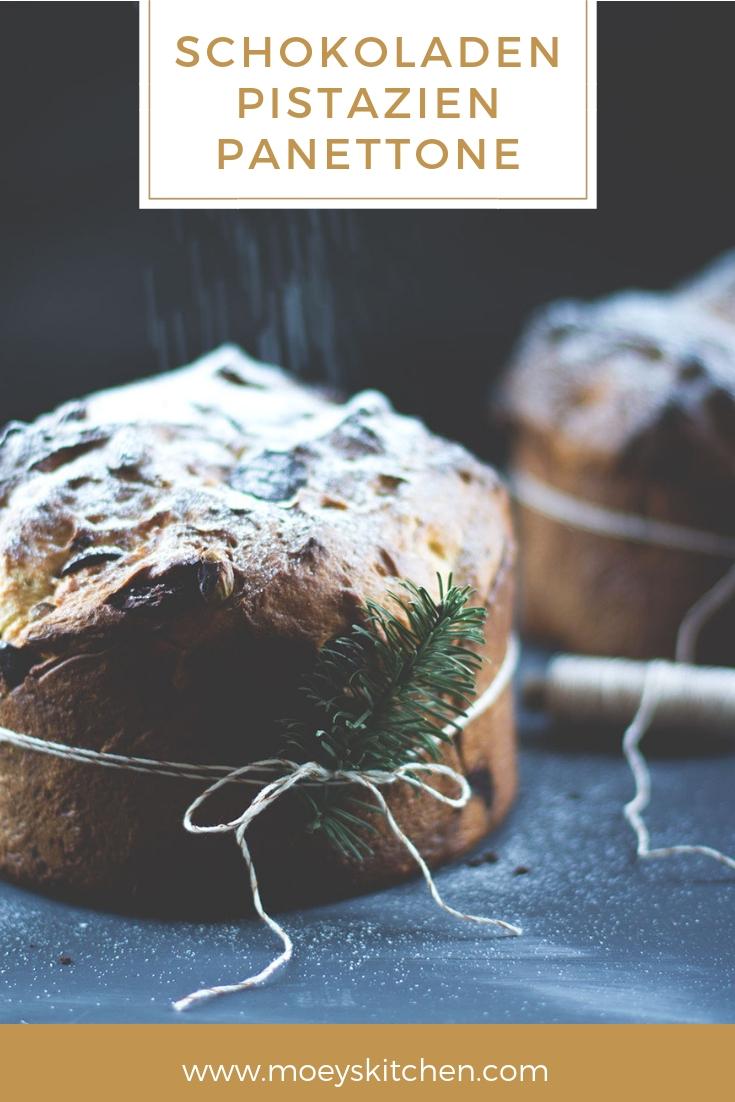 Rezept für Schokoladen-Pistazien-Panettone | moeyskitchen.com #panettone #backen #weihnachten #xmas #gebäck #rezepte #foodblog