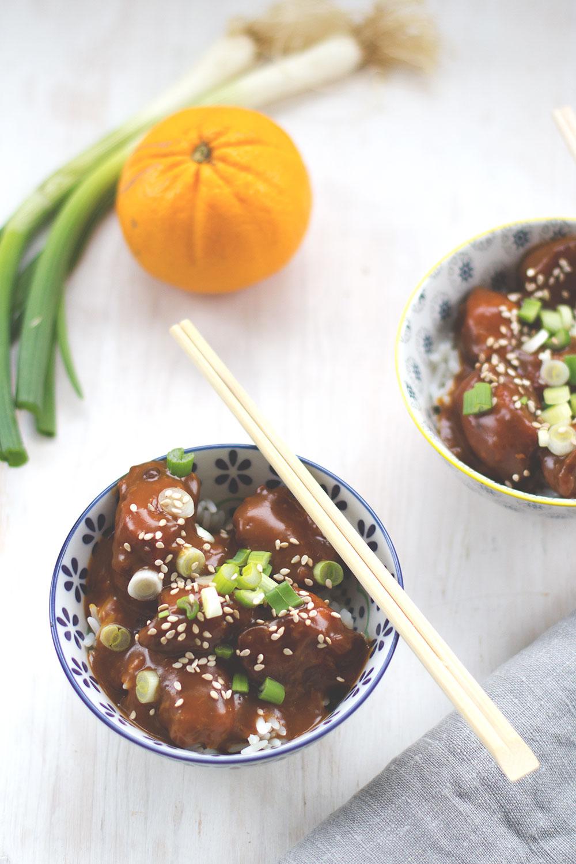 Rezept für Orange Chicken - Hähnchenbrustfilet mit Orangensauce - als schnelle Feierabendküche