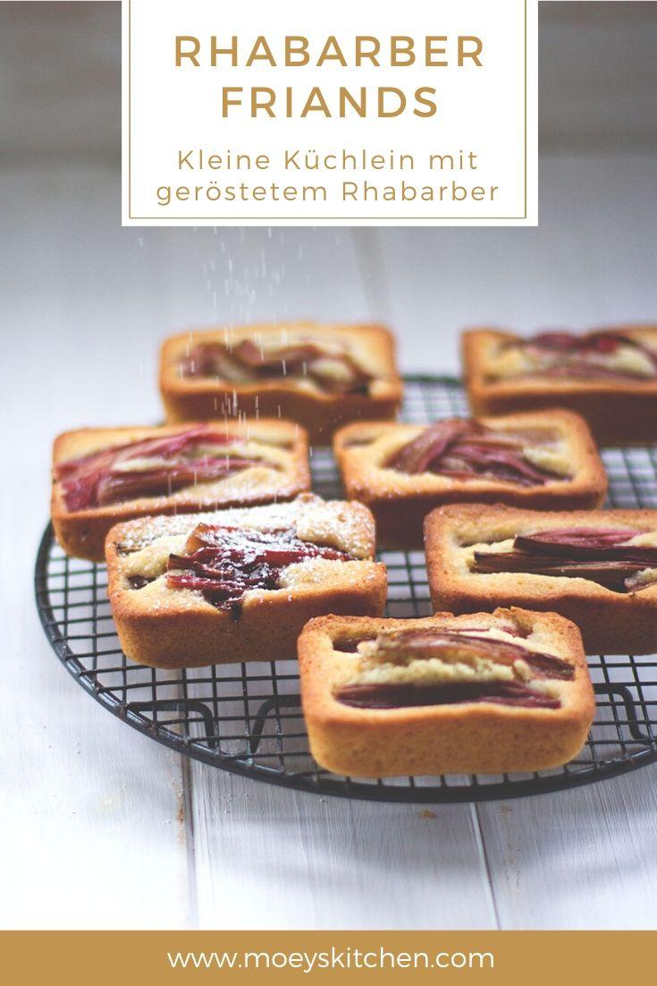 Rezept für saftige Rhabarber-Friands (oder Financiers) mit geröstetem Rhabarber | kleine feine Küchlein | moeyskitchen.com #rezepte #foodblogger #rhabarber #friands #financiers #kuchen #kuchenbacken