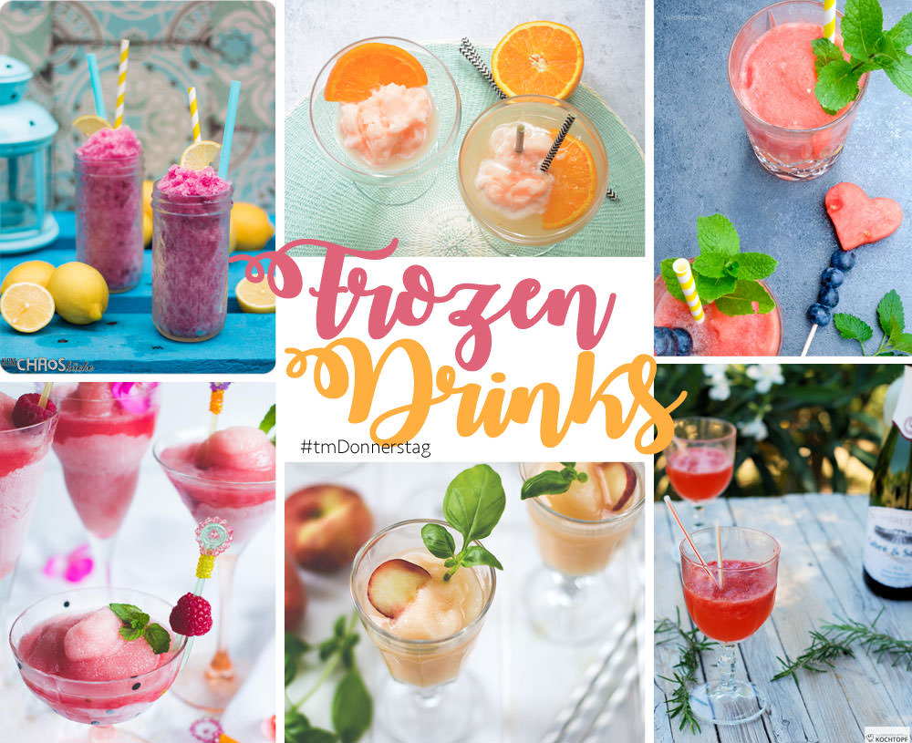 Collage zum Thermomix-Donnerstag Thema Frozen Drinks - Frozen Bellini oder Bellini Frozecco