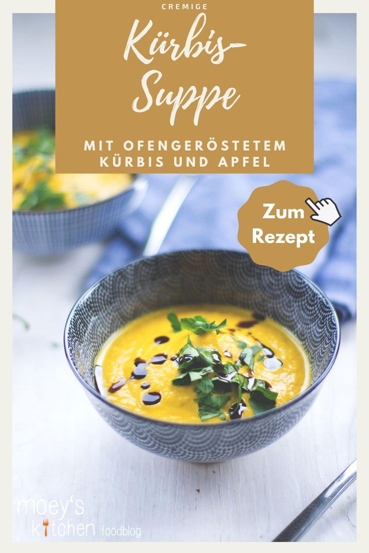 Rezept für cremige Kürbissuppe mit ofengeröstetem Kürbis und Apfel | moeyskitchen.com #kürbis #kürbissuppe #rezept #foodblog #foodblogger #apfel #ofen #vegetarisch #herbst #einfachkochen