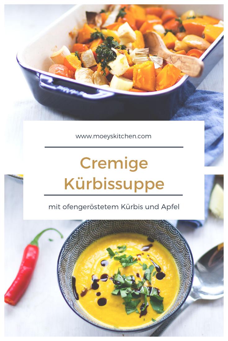 Rezept für cremige Kürbissuppe mit ofengeröstetem Kürbis und Apfel | moeyskitchen.com #kürbissuppe #suppe #kürbis #rezept #herbst
