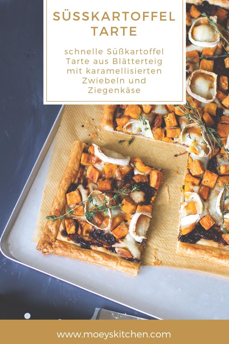 Rezept für schnelle Süßkartoffel Tarte mit Blätterteig, karamellisierten Zwiebeln und Ziegenkäse | moeyskitchen.com #tarte #süßkartoffeln #rezept #foodblogger