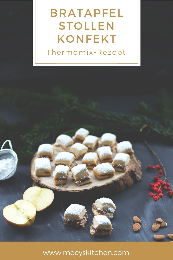 Rezept für saftiges Bratapfel Stollen Konfekt | Thermomix-Rezept | moeyskitchen.com #bratapfel #stollen #stollenkonfekt #weihnachten #advent #xmas #rezepte #plätzchen #foodblog