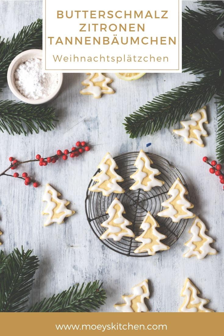 Rezept für leckere Butterschmalz-Zitronen-Tannenbäumchen | knusprige Weihnachtsplätzchen | moeyskitchen.com #weihnachtsplätzchen #cookies #kekse #backen #xmas #christmas #rezepte #foodblog