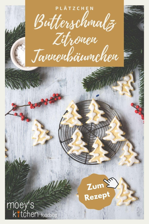 Rezept für Butterschmalz-Zitronen-Tannenbäumchen | leckere Weihnachtsplätzchen | moeyskitchen.com #rezept #backen #kekse #plätzchen #weihnachtsplätzchen #keksebacken #weihnachtsbäckerei #weihnachten #advent #foodblog #rezept