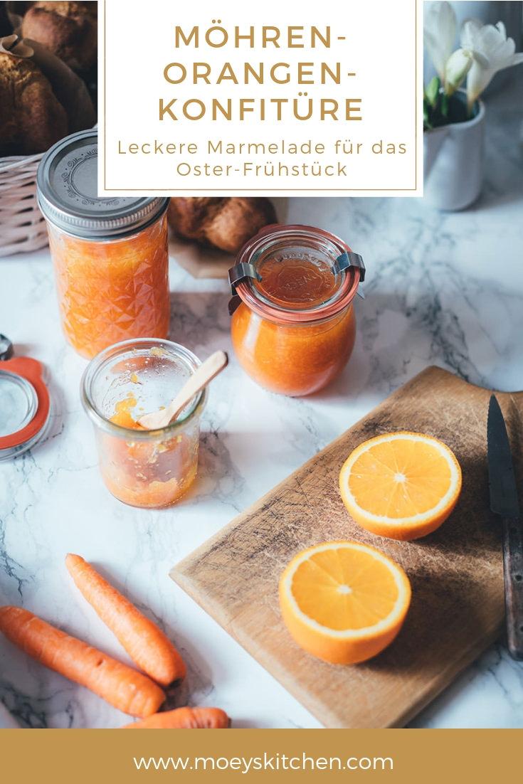 Rezept für leckere Möhren-Orangen-Konfitüre. Die Marmelade ist der perfekte Hingucker beim Osterfrühstück oder Osterbrunch und ist ein perfektes Geschenk aus der Küche zu Ostern! Dazu benötigt man nur 3 Zutaten! | moeyskitchen.com #ostern #osterfrühstück #osterbrunch #geschenkeausderküche #marmelade #konfitüre