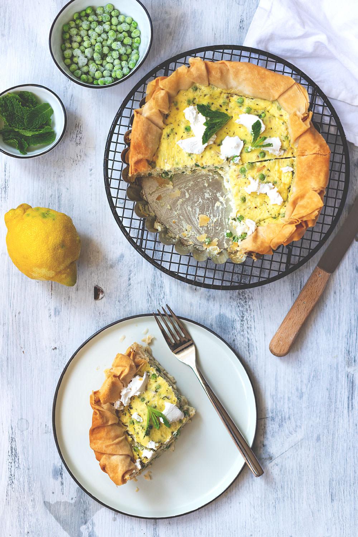 Rezept für Erbsen-Ricotta-Quiche mit Filoteig | moeyskitchen.com