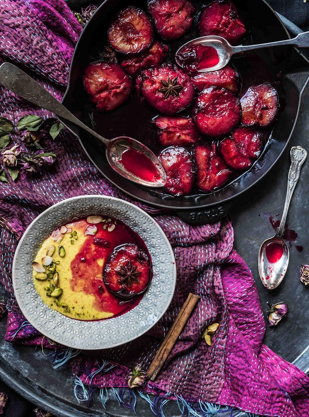 Safran Grießbrei mit ofengerösteten Pflaumen von S-Küche