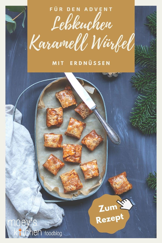 Rezept für Lebkuchen-Karamell-Würfel mit gerösteten Erdnüssen nach Donna Hay | Weihnachtliches Backen für den Plätzchenteller | moeyskitchen.com #weihnachtsplätzchen #lebkuchen #karamell #foodblog #rezepte #blogger #weihnachten #advent #keksebacken #weihnachtsbäckerei #cookies #bars