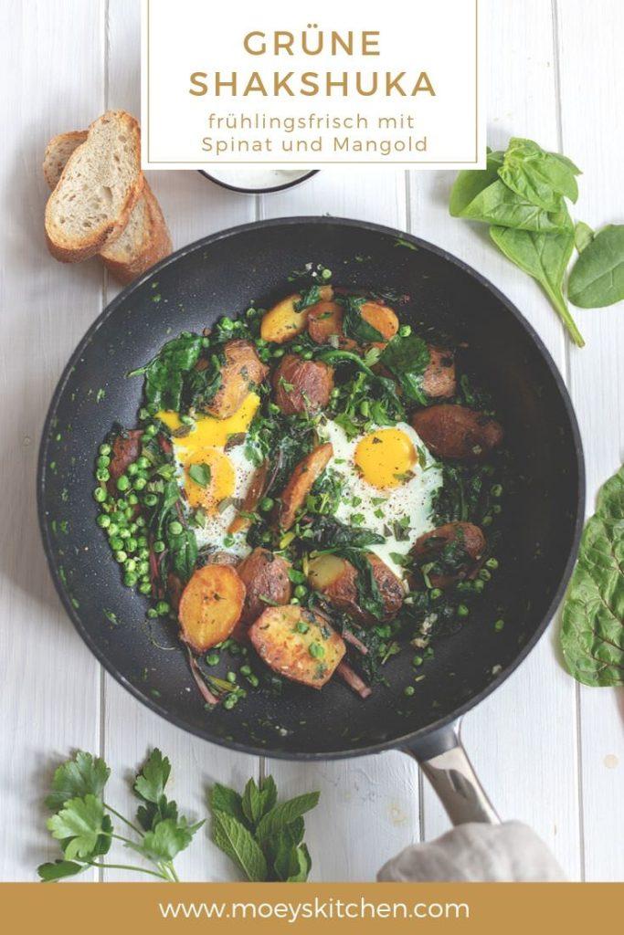 Shakshuka (oder auch Shakschuka geschrieben) ist ein typisches Gericht der nordafrikanischen oder israelischen Küche | Rezept für grüne Shakshuka mit Spinat, Mangold, Erbsen und Kartoffeln | moeyskitchen.com #shakshuka #shakschuka #pfannengericht #gemüsepfanne #spinat #mangold #erbsen #veggie #vegetarisch #rezepte #foodblogger