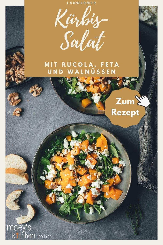 Rezept für lauwarmen Kürbis-Salat mit Rucola, Feta und Walnüssen | vegetarische Herbstküche | moeyskitchen.com #kürbis #pumpkin #salat #herbstsalat #vegetarisch #veggie #rezepte #foodblogger #kürbissalat #salatrezepte #rezept #foodblog #kürbisrezept #herbst