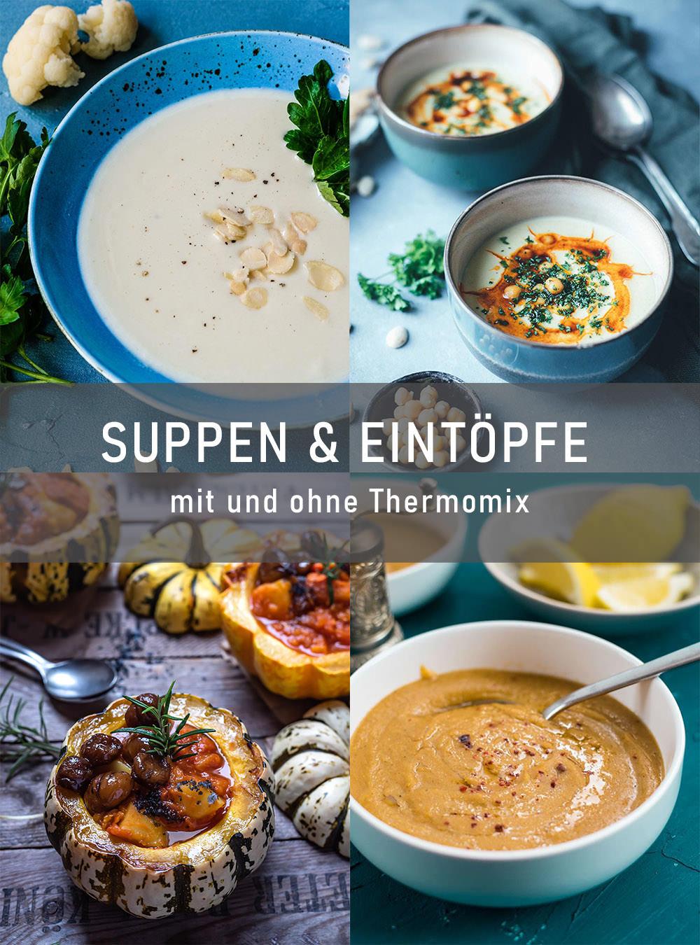 Rezept für cremige Kichererbsen-Suppe mit Mandeln und Paprika-Öl | Hummus-Suppe – vegan und glutenfrei | Rezept mit und ohne Thermomix | moeyskitchen.com #suppe #kichererbsensuppe #hummussuppe #kichererbsen #hummus #thermomix #thermomixrezepte #tm6 #tm5 #tm31 #rezepte #foodblogger #vegan