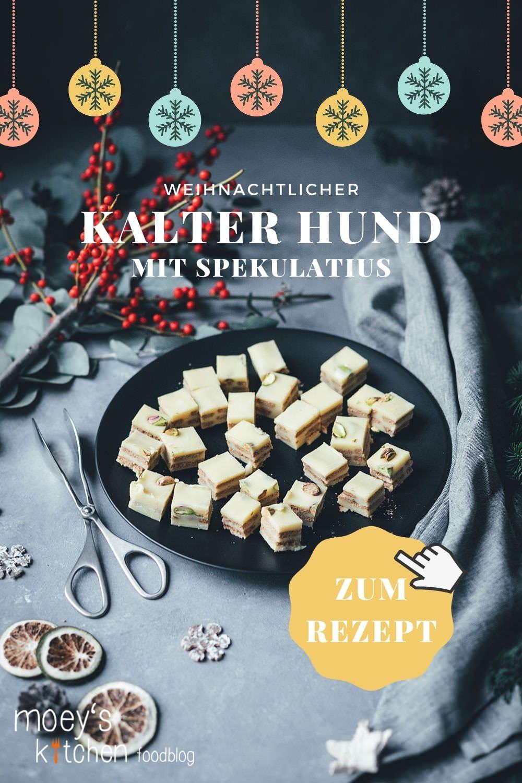 Weihnachtlicher Kalter Hund mit weißer Schokolade, Spekulatius und Pistazien | Geschenke aus der Küche für die Weihnachtszeit und den Plätzchenteller | moeyskitchen.com #kalterhund #kekskuchen #kalteschnauze #spekulatius #weisseschokolade #weihnachtsplätzchen #rezepte #foodblogger #weihnachten #weihnachtskekse #geschenkausderküche #rezept