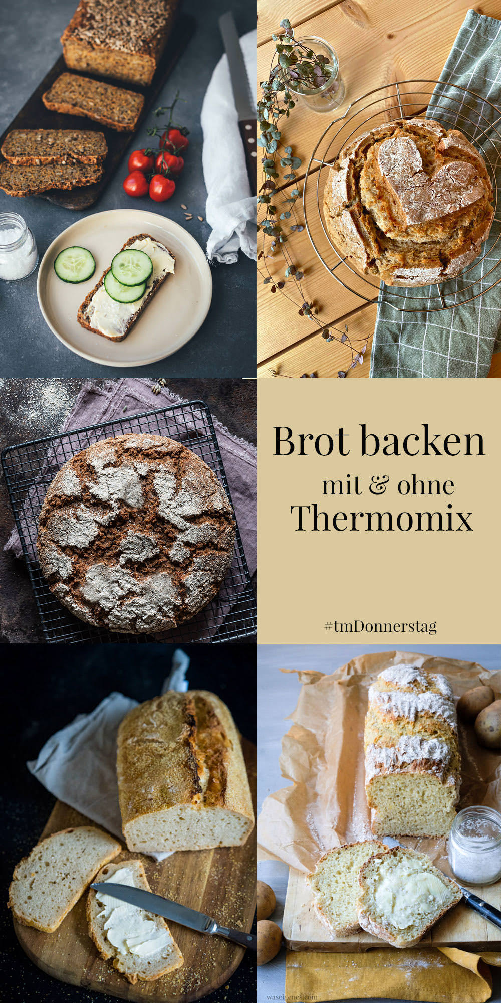 Collage Blogger Rezepte zum Brot backen mit dem Thermomix